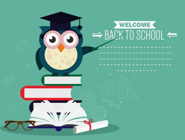 Back to school banner owl book stack icons Free vector