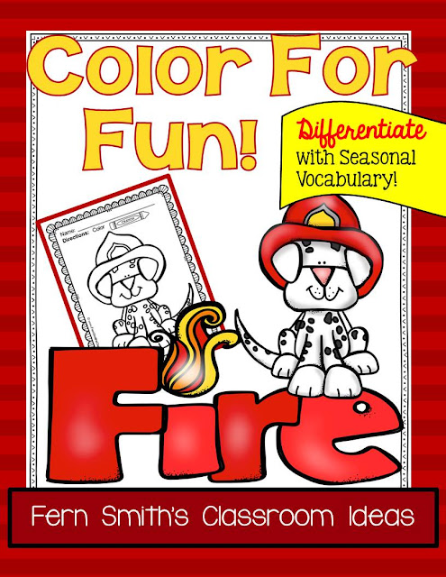 Fern Smith's Classroom Ideas Color For Fun - Fire Safety - Differentiated Seasonal Vocabulary at Teacherspayteachers.