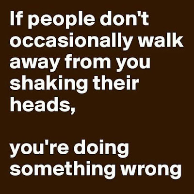 If people don't occasionally walk away from you shaking their heads, you're doing something wrong