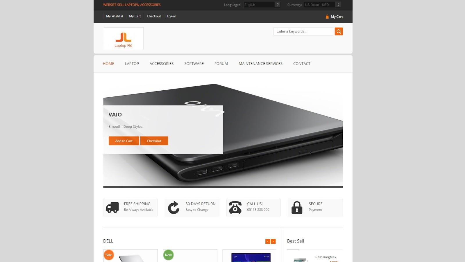 Template website laptop phụ kiện + Báo cáo