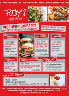 Mittagstisch, Burger Flatrate, Buffet, Brunch  Restaurant Fodys Fährhaus Ladenburg, Wochenkarte, Mittagstisch, Burger Flatrate, Buffet, Brunch