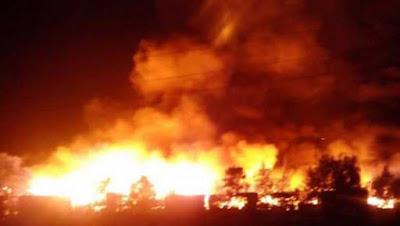 Gikomba Market on fire.  PHOTO | Courtesy