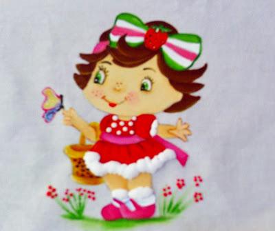 pintura em fralda moranguinho baby com cesta e borboleta