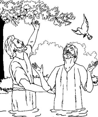 Dibujo de Juan el Bautista bautizando a Jesús para colorear pintar