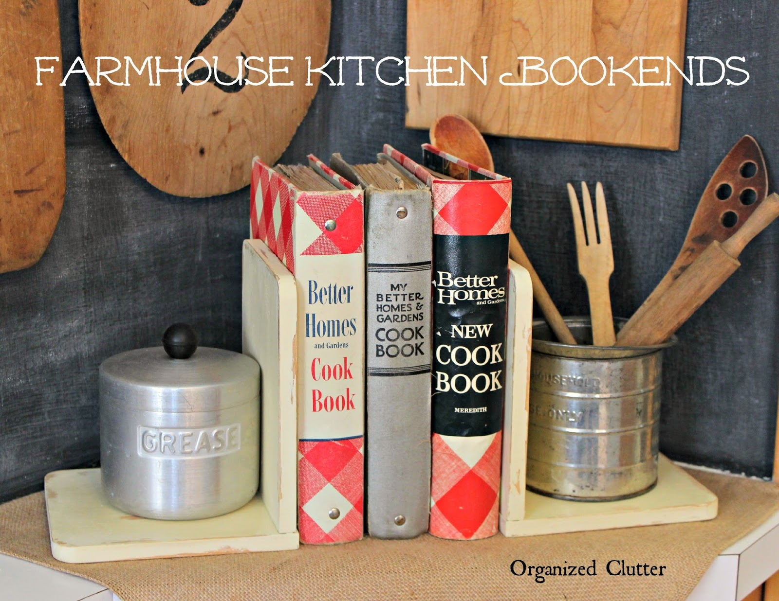 Thrift Shop Shelves to Farmhouse Bookends www.organizedclutter.net