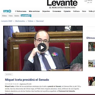 """Captura de Levante con titular """"Miquel Iceta presidirá el Senado"""""""