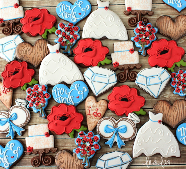 Decorated poppy wedding sugar cookies