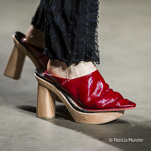 Traditional wooden Berber slipper in red by Karim Adduchi at Fashion Week Amsterdam