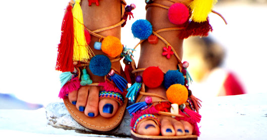 POM POM Sandals, Pom Pom, Leather Sandals, Gladiator sandals, Greek Sandals, Colorful Sandals, beaded sandals, boho leather shoes