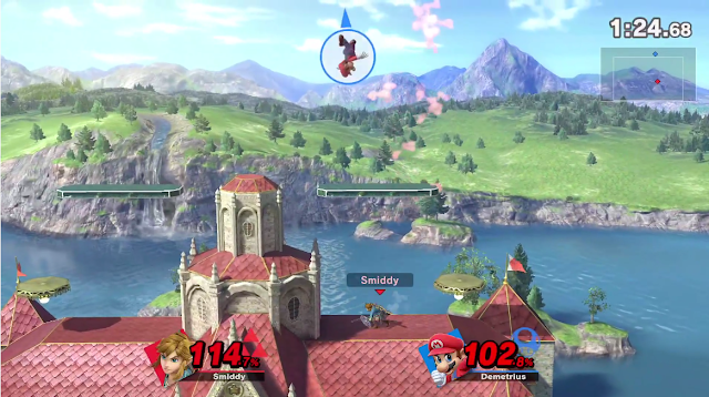Super Smash Bros. Ultimate Princess Peach's Castle stage from Melee in HD background
