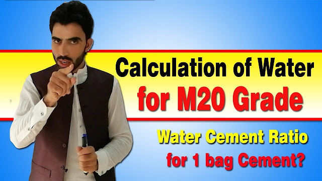 Calculation of Water for M20 Grade Concrete