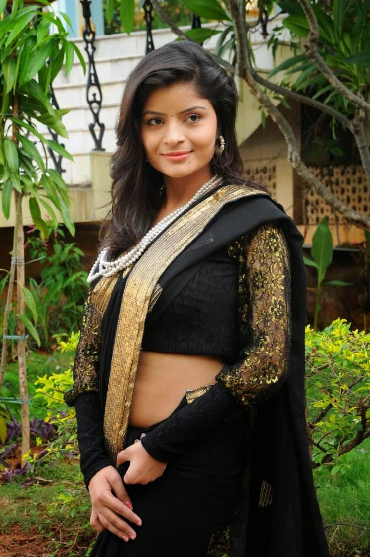 Actress Gehana Vasisth Latest Cute Hot Exclusive Black Saree Navel Show Spicy Photos Gallery