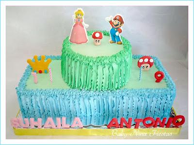 Tarta Mario bros y princesa peach