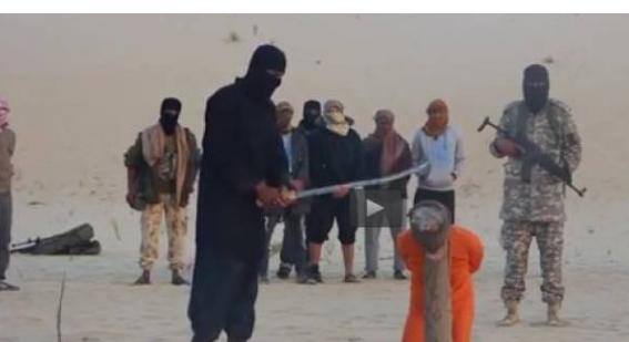 داعش يبثُّ فيديو لعملية ذبح رجلين بتهمة ممارسة هذا الشيء فيديو منع من النشر على جميع المواقع لقساوته