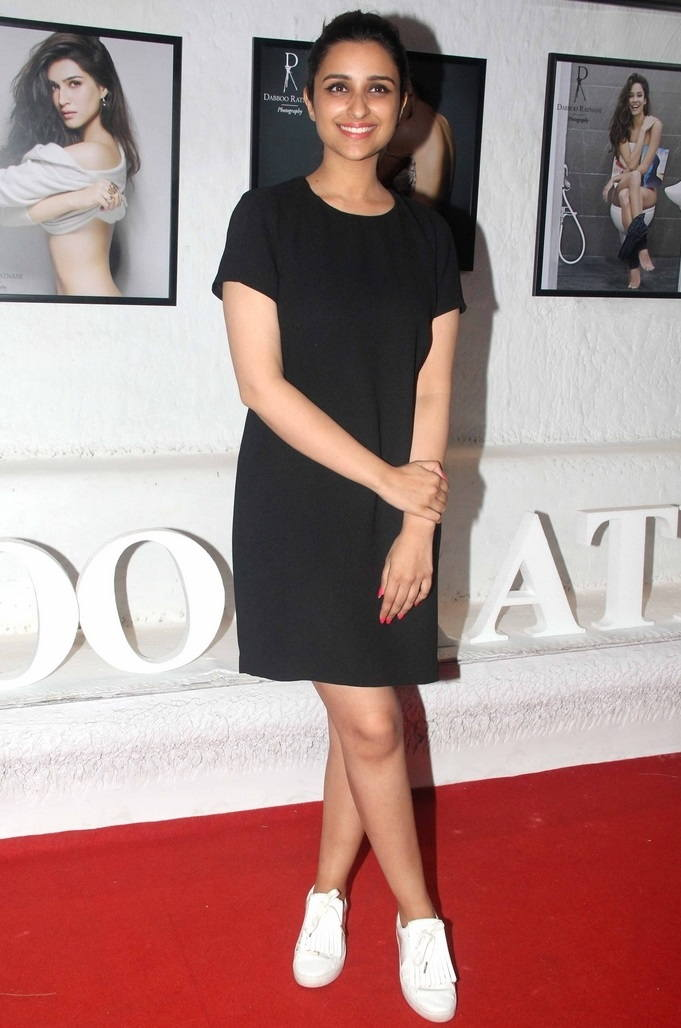 Parineeti Chopra Legs Thighs Stills In Mini Black Dress