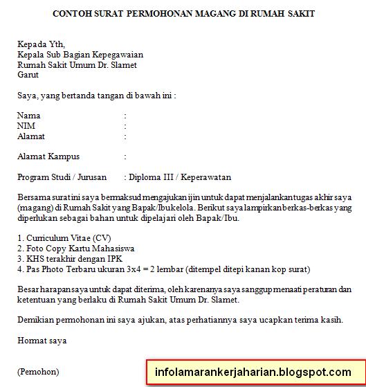 contoh surat permohonan magang kerja info kerja