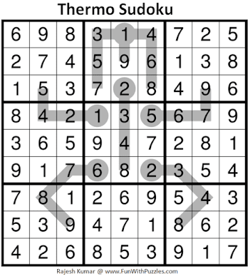 Answer of Thermometer Sudoku Puzzle (Fun With Sudoku #346)