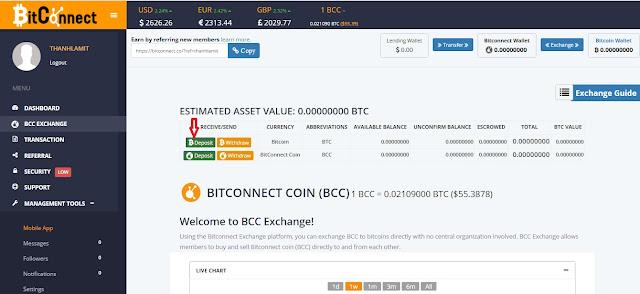 Nạp Bitcoin vào Bitconnect.