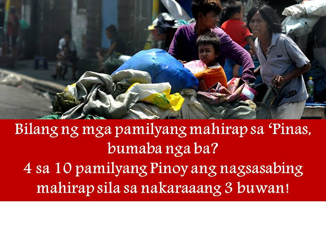 "There are 9.4 million families in the Philippines who considered themselves poor and ""food poor"" in the past three months.   This is based on a nationwide survey conducted by Social Weather Station (SWS) last September 24-27 among 1,200 respondents.   (VIDEO:Porsyento ng mga Pilipinong nagsasabing mahirap sila, nabawasan base sa survey ng SWS)      This means that four in 10 Filipino families consider themselves poor or ""mahirap"".  Base on the result, it is the new record low and the lowest self-rated poverty since April 1983 after the result shows that 42% of Filipino families rated themselves poor. ""Food-poor"" means families consider the food they eat as poor.      Compared to last June 2016, there are 45% of Filipino families across the country who considered themselves poor or an equivalent of 10.5 million households.    Also pointed out that the self-rated poverty result ""has been either steady or declining for eight consecutive quarters"" as follows:      • 52 percent in December 2014 • 51 percent in March 2015 and June 2015 • 50 percent in September 2015 and December 2015 • 46 percent in April 2016 • 45 percent in June 2016, and • 42 percent in September 2016.   According to SWS, there were fewer Filipino families saying that they are poor in the rest of Luzon from 41 percent to 34 percent and Mindanao with 54 percent to 49 percent.   However, in Metro Manila, self-rated poverty increases from 32 percent to 36 percent and the Visayas from 52 percent to 56 percent.     Residents in Metro Manila who consider themselves poor said that they would need at least P16,000 per month to be not included as ""poor.""  For the rest of Luzon, they said, they need P15,000 per month while P10,000 per month in Visayas and Mindanao.            ©2016 THOUGHTSKOTO"