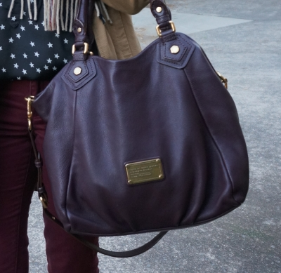 Marc By Marc Jacobs Classic Q Fran bag in carob brown with burgundy pants