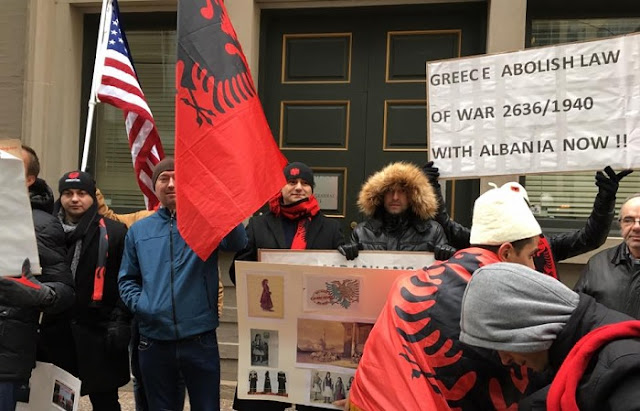 Albanians of Chicago protest at the Greek consulate