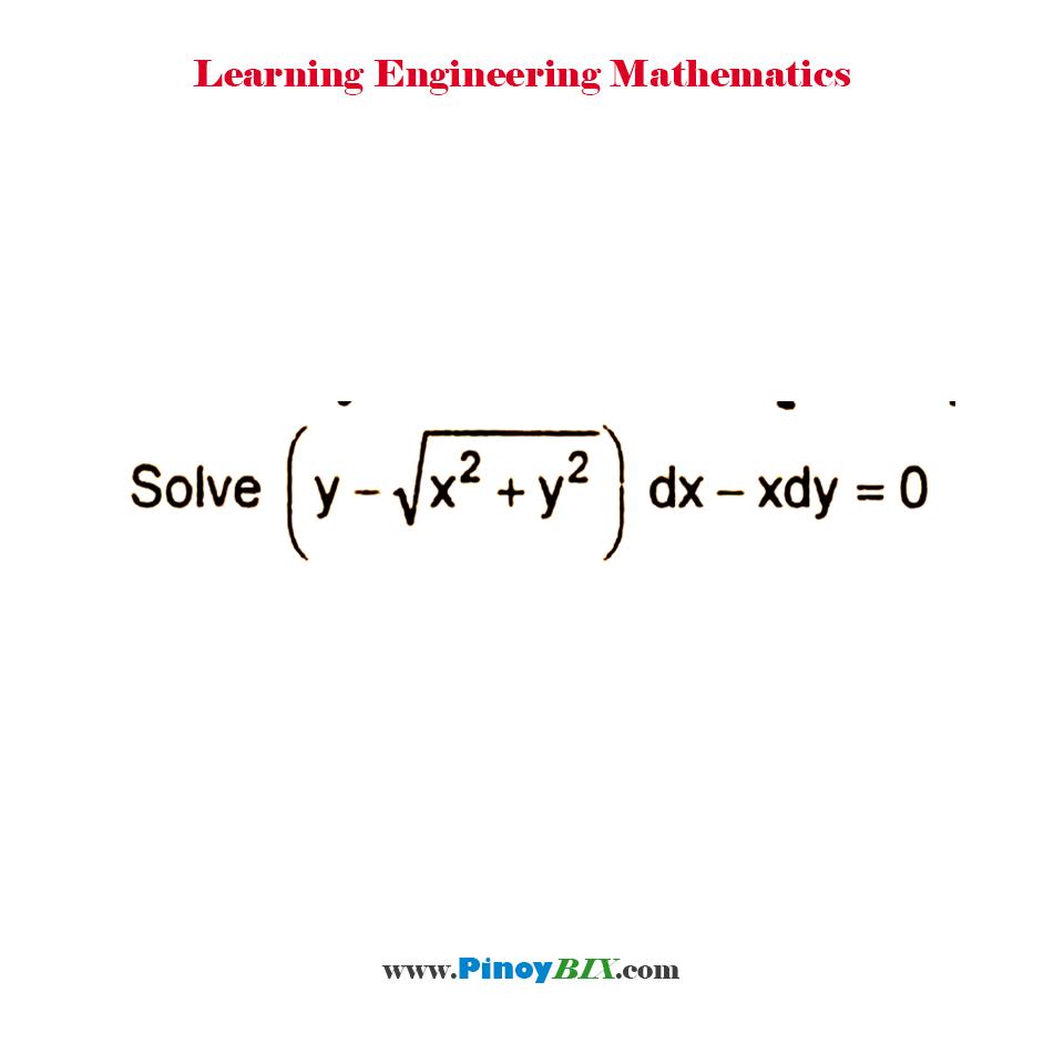 Solve (y – √(x2 + y2)) dx – x dy = 0