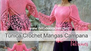 Blusa Crochet con Manga Campana / Patrones