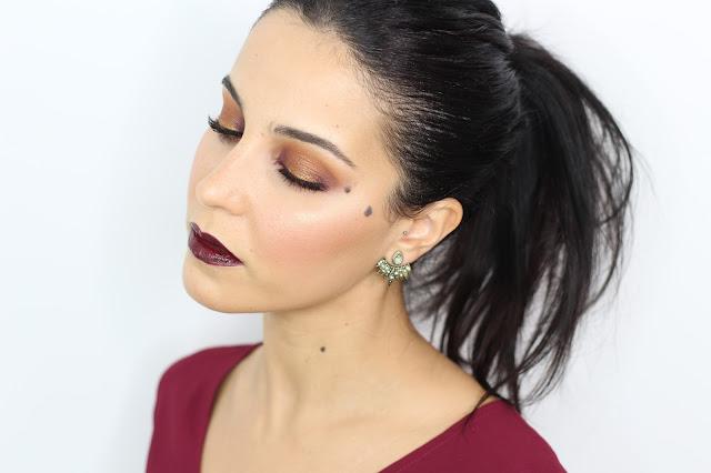 Maquillaje de fiesta en dorado con labios borgoña | Nabla Goldust