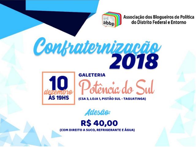 CONFRATERNIZAÇÃO ABBP 2018: ACONTECE DIA 10 DE DEZEMBRO