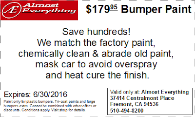 Discount Coupon $179.95 Bumper Paint Sale June 2016