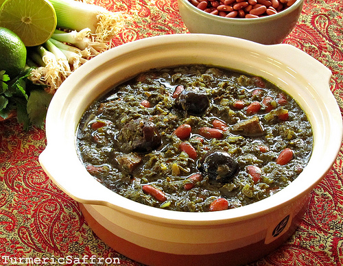 Turmeric saffron ghormeh sabzi persian herb stew for Ancient persian cuisine