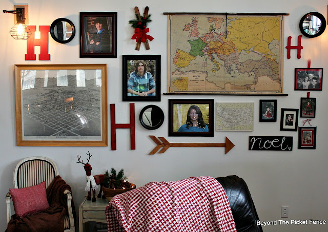 christmas home tour, christmas decor, gallery wall, pinecones, essential oil, reindeer, rustic, http://bec4-beyondthepicketfence.blogspot.com/2015/12/home-for-christmas-home-tour-blog-hop.html
