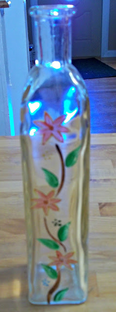 Handpainted glass bottles.