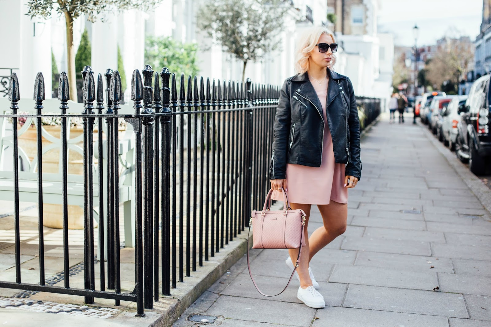 Spring look with pink dress and biker jacket