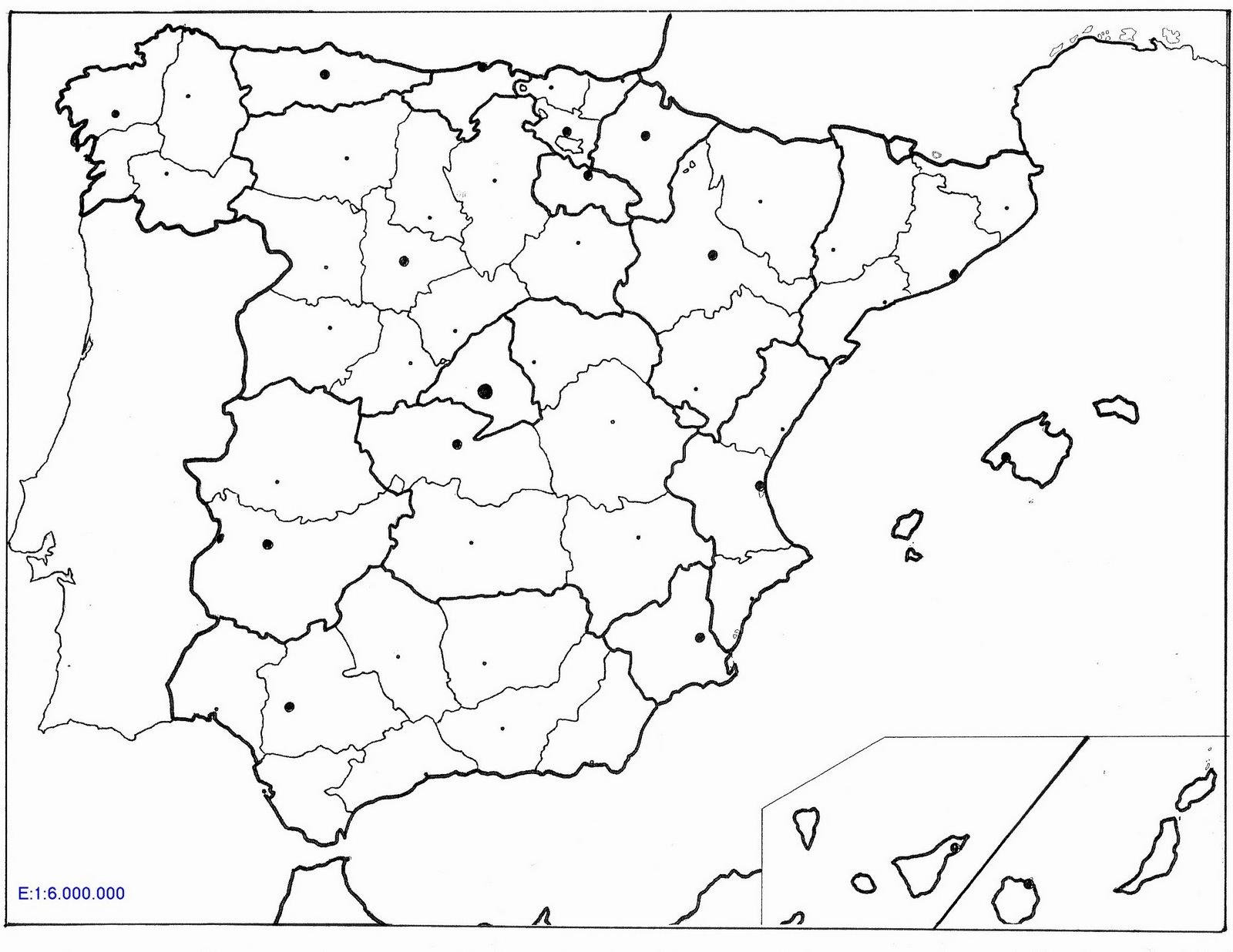 Mapa España Provincias Blanco.Recursos Infantiles Mapas