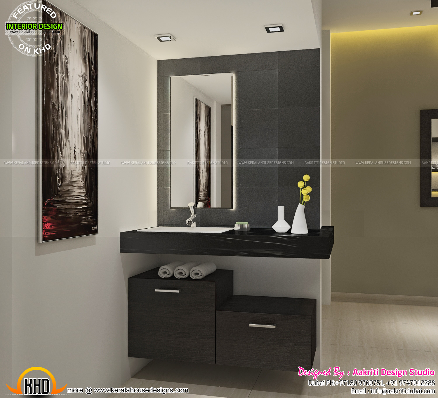 Kerala House Designs Plans Interior: Dining, Kitchen, Wash Area Interior