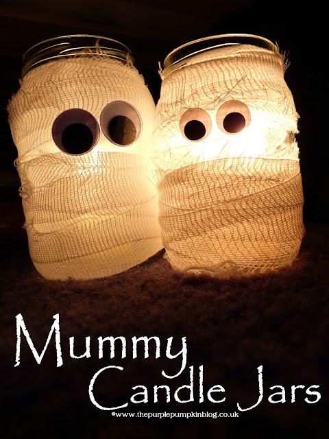 ~Mummy Candle Jars {Crafty October} at The Purple Pumpkin Blog