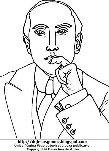 Imagen de Amado Nervo para colorear pintar imprimir. Dibujo de Amado Nervo de Jesus Gómez