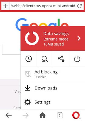 Opera Mini Pop Up Menu