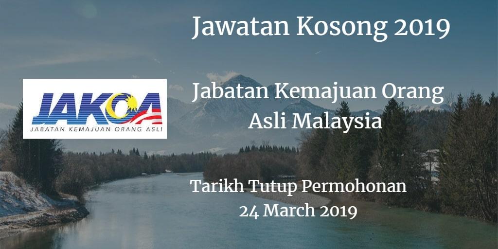 Jawatan Kosong JAKOA 24 March 2019