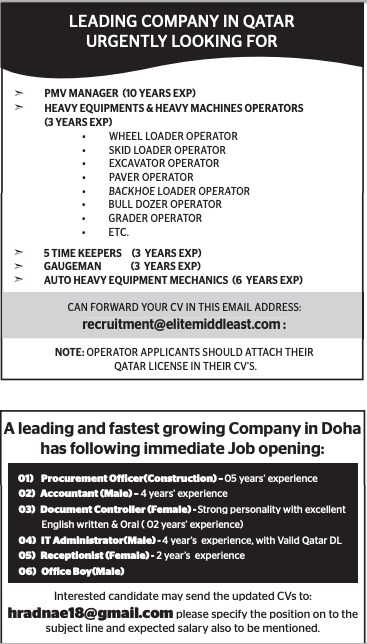 JOB vacancy in Doha Qatar