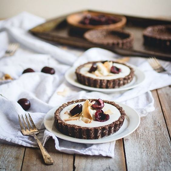 Coconut Pudding Tarts with Raw Chocolate Macaroon Crust by Butter Lust Katie {Cool Chic Style Fashion}