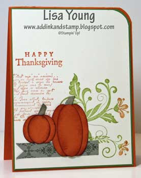 Stampin' Up! Flowering Flourishes stamp set with Punched Pumpkins. Handmade Thanksgiving card by Lisa Young, Add Ink and Stamp