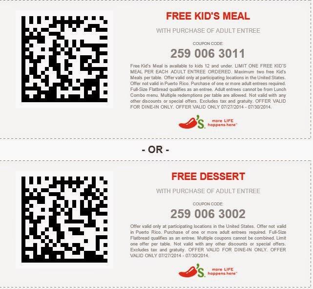Free Printable Coupons: Chili's Coupons