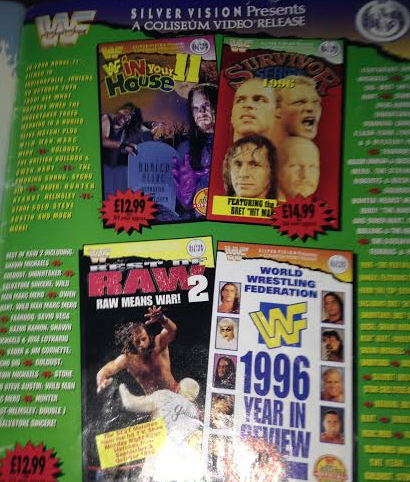 WWE - WWF RAW MAGAZINE 1997: Coliseum Home Video ad