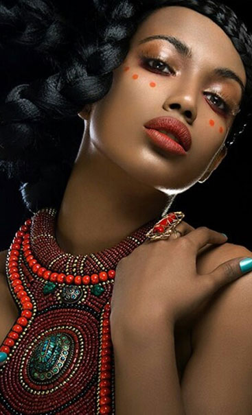 beautiful black woman african face paint.