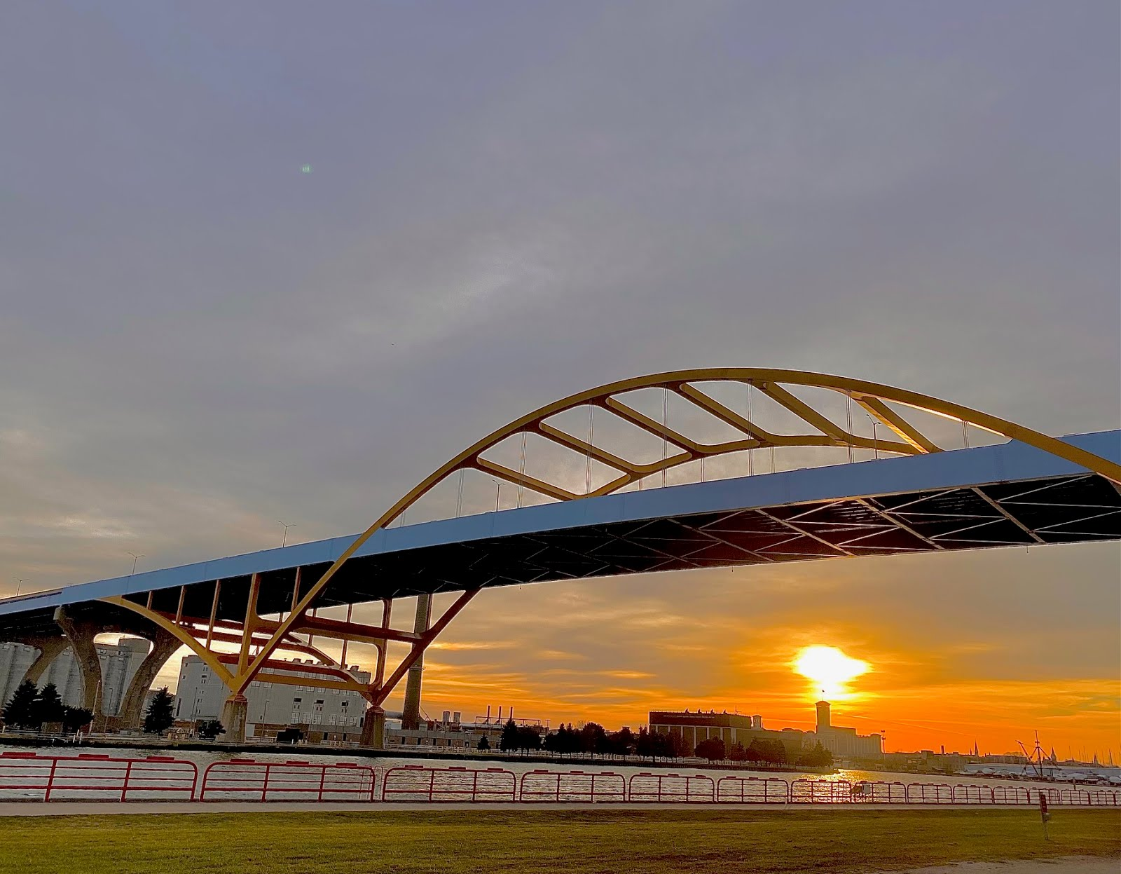 Fall sunset past the Hoan Bridge