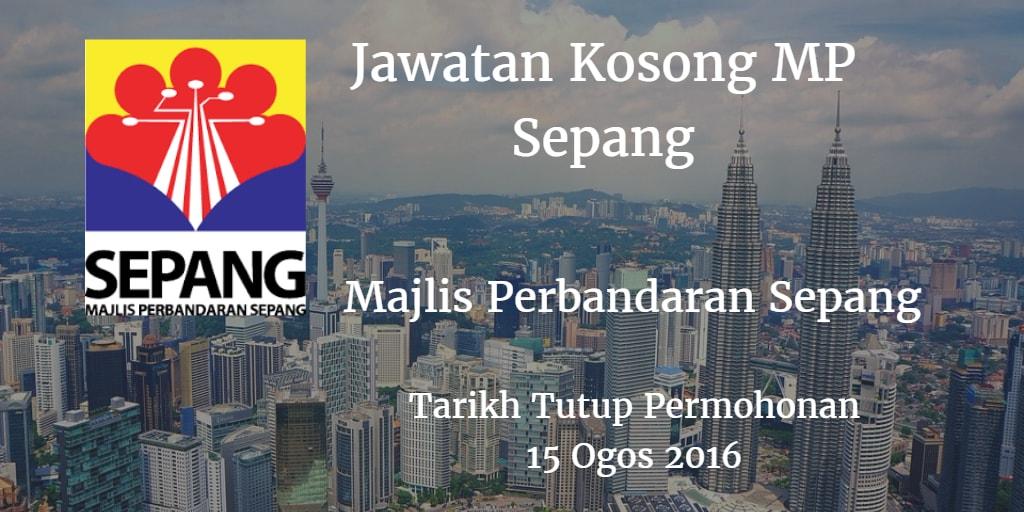 Jawatan Kosong MPSepang 15 Ogos 2016