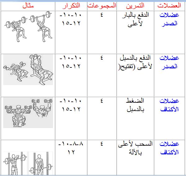 جدول تدريبي للمبتدئين في شهر رائع مهوس عضلات كمال الاجسام