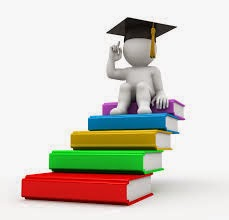 Stick figure illustration of person with graduation cap sitting on top of a stack of books